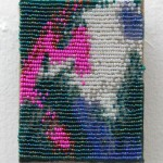 "Sam Pedicelli Abstract 1, 2015 3 x 4"" acrylic paint, beads, thread, linen Unframed original $150"