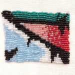 "Sam Pedicelli Colour Exploration 3x4"" beads and thread on canvas Unframed $50"