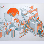 """Jp King Every House I Have Ever Lived In, 2015 14.5x8"""" risograph print Unframed, edition of 50 $20"""