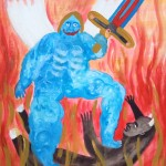 """Jesi The Elder Mother Nature Gets a Hold of The Jesus Cross Sword (God's Weapon Can Do No Harm) 12x9"""" acrylic on watercolour cold press Unframed, original $123.99"""