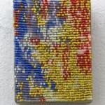 "Sam Pedicelli Abstract 2, 2015 3 x 4"" acrylic paint, beads, thread, linen Unframed original $150"