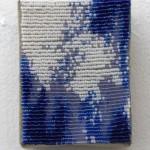 "Sam Pedicelli Abstract 3, 2015 3 x 4"" acrylic paint, beads, thread, linen Unframed original $150"