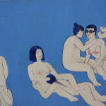 "Sam Nolan Orgy #3, 2015 24x12"" acrylic and ink on panel Unframed $200"