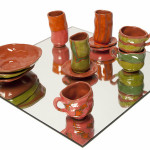 Lili Huston-Herterich Dinnerware Set, 2014 hand glazed slip cast terracotta ceramics 3 piece Set $75
