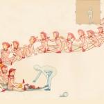 """Sarah D'Angelo Girl Train, 2015 16 x 20"""" illustration Framed, multiple $100"""