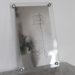 "Parker Kay Proximity to Branding, 2014 10.5 x 16"" screenprint on silver mylar Framed - edition1/10 $100"